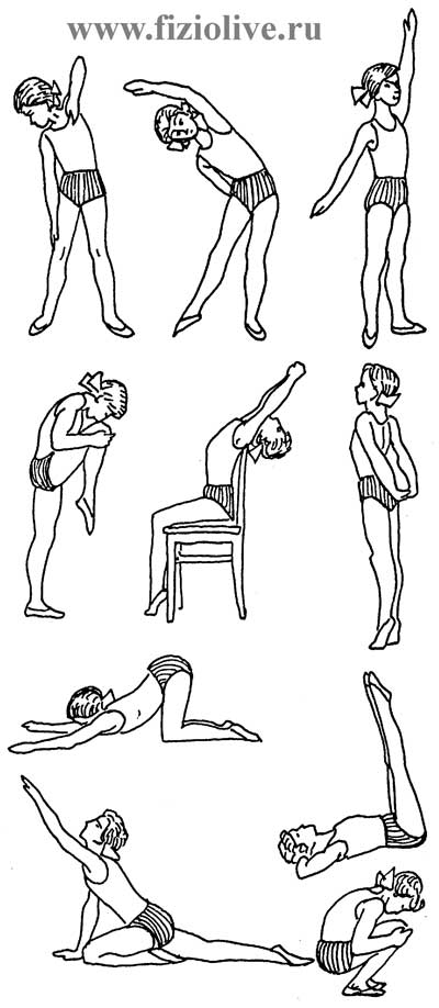 The approximate range of therapeutic exercises in violation of posture